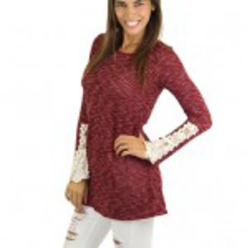 Burgundy Top With Crochet Details