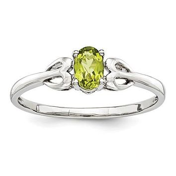 Sterling Silver Genuine Peridot Heart Design Ring
