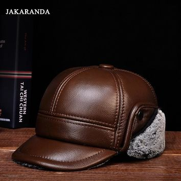 Trendy Winter Jacket RY127 Branded Man's Winter Genuine Leather er Hat Male Ear Protecrion Faux Fur Black/Brown Casquette Trucker Baseball Caps AT_92_12