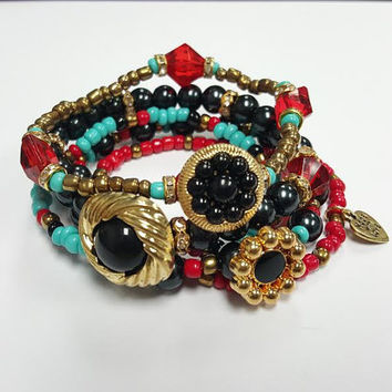 Beaded Bracelet, Seed Bead Bracelet Set, Multicolor,Red, Black ,Stretchy,Womens Jewelry,Handmade, Custom Beaded Jewelry