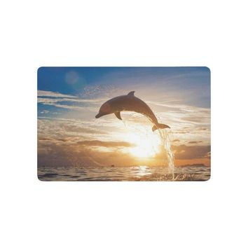 Autumn Fall welcome door mat doormat Ocean Beach Theme Anti-slip  Home Decor, Beautiful Sea Animal Dolphin Jumping from Shining Sunset Indoor AT_76_7