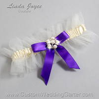 "Ivory and Purple Tulle Wedding Garter Bridal ""Natalie"" Silver 871 Ivory 465 Eggplant Purple Prom Luxury Garter Plus Size & Queen Size"