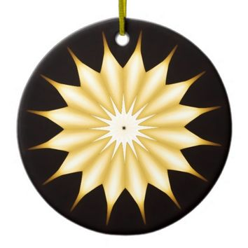 Kaleidoscope Design Bright Yellow Star Ceramic Ornament