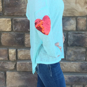 Sequin Heart Sleeve Top