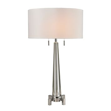 Crystal Column 2-Light Table Lamp with Chrome Footed Base