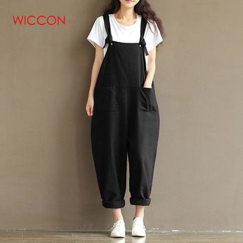 WICCON Womens Casual Loose Cotton And Linen Jumpsuit Strap Bodysuit Overalls Loose Preppy Style Harem Rompers Womens Jumpsuit