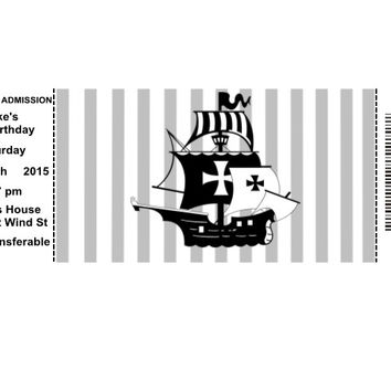 Pirate Ticket Birthday Party Invitations