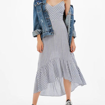 Blue Stripe V-neck Lace Up Back Cut Out Ruffle Dipped Hem Midi Dress