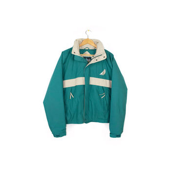 90s nautical teal windbreaker jacket - vintage 1990s - retractable hood sailing parka - retro athletic -  medium