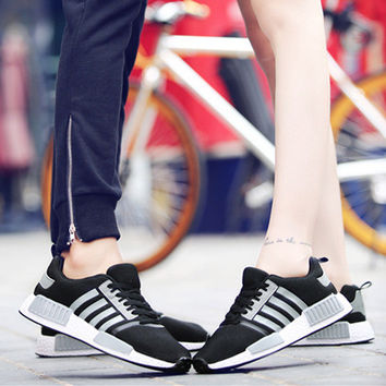 """ulzzang"" Unisex Fashion Casual Harajuku Style Multicolor Stripe Couple Sneakers Running Shoes"