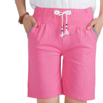 Plus Size S-2XL Linen Shorts Solid Elastic Waist Bermudas Casual Summer Short Pants for Women New Pocket Pantalones Cortos Mujer