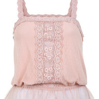 Pink Daisy Lace Cami Top - Tops  - Clothing
