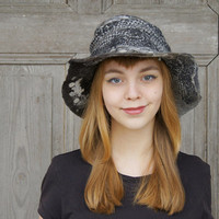 Unique elegant felted hat in shadows of gray with large brim . OOAK