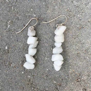 White Crystal Dangle Earrings by altjoy on Etsy