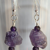 Rough Amethyst Nugget Statement Earrings, Raw Purple Quartz Earrings, Chunky Nugget Earrings, Big Bold Raw Crystal Earrings, Gem Statement