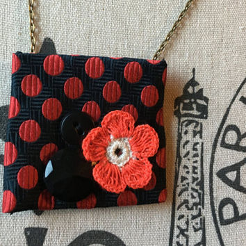 Upcycled Jewelry, Recycled Neckties, Rockabilly, Polka Dot Jewelry, Red Black, Neckties Repurposed, Eco-Friendly Jewelry, Textile Gifts
