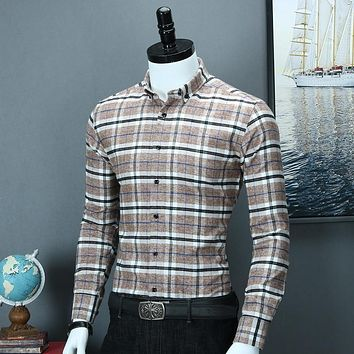 Men's Button Down Long Sleeve Plaid Flannel Shirts Casual Standard-fit Button-down Collar Quality Brushed Cotton Gingham Shirt