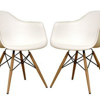Baxton Studio Fiorenza White Plastic Armchair with Wood Eiffel Legs, Set of 2