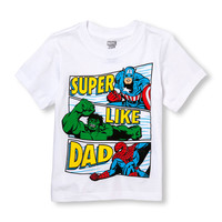Toddler Boys Short Sleeve Marvel 'Super Like Dad' Super Hero Group Graphic Tee | The Children's Place