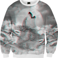 Maybe the Wolf Is In Love with the Moon v.2 (3D Effect) Unisex FALL Sweatshirt created by soaringanchordesigns | Print All Over Me