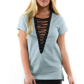 Flaunt It Dust Blue Ribbed Lace Up Top