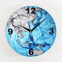 30cm Beautiful Blue Planet Clock Movement Mute Sweep Seconds Wall Clock Fashion Creative Arts Wall Clocks Office / Living Room