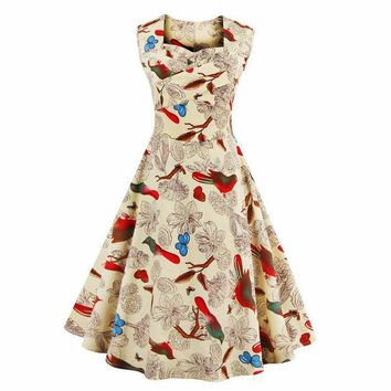 DCCKIHN L- 4XL Women Dress Retro Vintage 1950s 60s Rockabilly Floral Swing Summer Dresses Elegant Tunic Vestidos