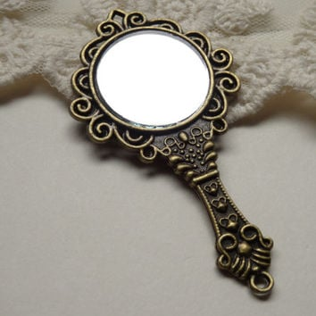 1 Large Carved Vintage Style Hand Mirror Pendant Filligre Antique Bronze Finish Stamped Detailed Real Mirror Pendant