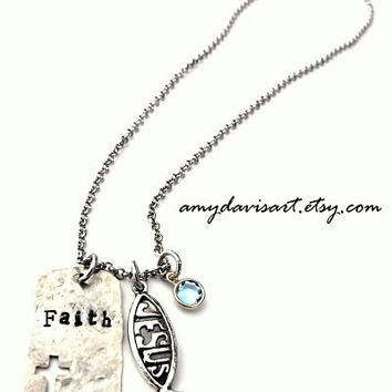 Faith Hand Stamped Necklace, Christian Jewelry, Ichthus Christian Fish, Silver Dog Tag with Cross, Birthstone Necklace, Mother's Day Gift