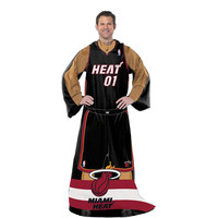 Miami Heat NBA Adult Uniform Comfy Throw Blanket w- Sleeves
