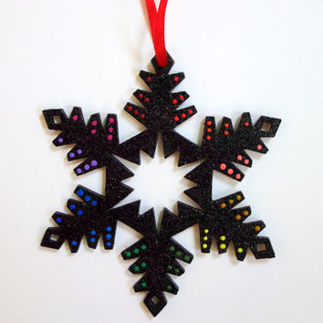 Hand Painted Black Glitter Rainbow Snowflake Ornament