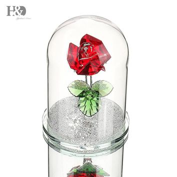 H&D XMAS Gifts Crystal Beauty and the Beast Enchanted Red Rose Glass Sculpture in Glass Dome Flower Figurine Ornament Home Decor