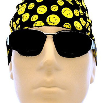 Smiley Face Biker Cap Dots Happy Face Smile Headwrap Du Rag Doo Rag Yellow Black