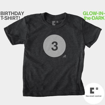 3rd Third Birthday Shirt (Boys & Girls) Glow-in-the-Dark