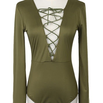 Military Green V-Neck Strappy Front Long Sleeve Bodysuit