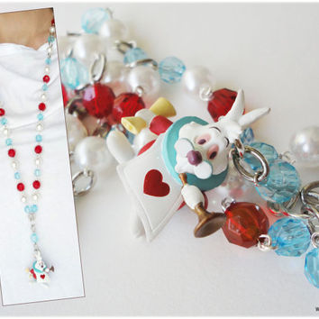 White Rabbit Rosary Necklace, Beaded Red Teal and White Chain with Figure Pendant in Silver - Alice in Wonderland