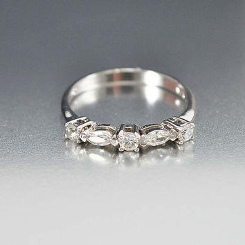 Sterling Silver Wedding Band Ring, Half Eternity Band, CZ Diamond Ring Size 6 Art Deco Ring, Vintage Wedding Jewelry Stacking Ring