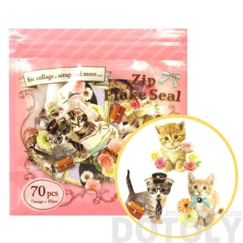 Realistic Kitty Cat Themed Photo Sticker Flake Seals From Japan | 70 Pieces