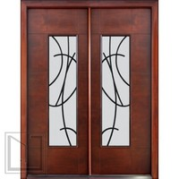 Prehung Low-E Double Door, Florida Approved, Modern Sandonato Ironwork