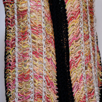 Hairpin crochet lace shawl or scarf in soft cottons.