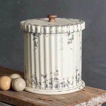Rustic Primitive Whitewash Canister with Lid Indoor Decor Kitchen Display