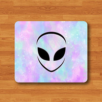 Alien Pastel Galaxy Hipster Mouse Pad Rubber Star Natural Soft Fabric Rubber Backing MousePad Desk Deco Gift Personalized Gift Printed Draw