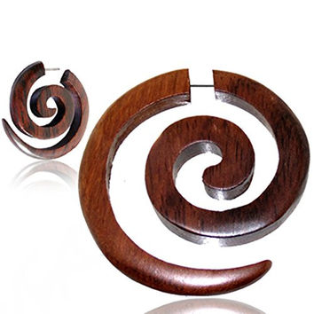 Optical Illusion Handmade Wood - Extra Large Chestnut Plug Earrings