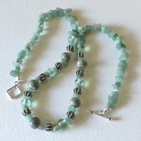 Handmade Lampwork Beads with Emerald Chips and Sterling Silver, Statteam