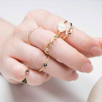 5PCS /Set Ring Charm Pink Crystal artificial Stone Geometric Triangular Tree Rattan Simple Ring For Women
