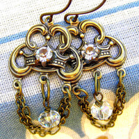 Vintage Style Crystal French Crown Metal Chandelier Earrings