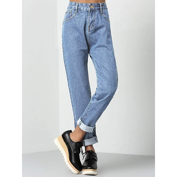 Rolled Up Mom Jeans