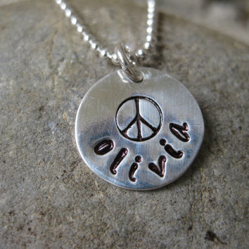 Peace Symbol Sign Personalized Necklace Sterling Silver Hand Stamped