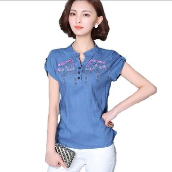 womens tops cotton linen floral embroidery womens blouses 2017 summer new short sleeve casual shirt women plus size blusas mujer