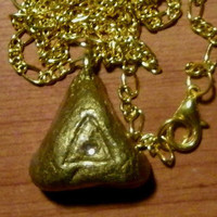 Gold Clay Necklace, triangle, triangular, crystal, pendant, painted, shiny, shinning, glossy, glorious, ooak, unique, original, nice